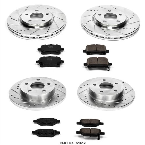Power Stop K1612 Front and Rear Z23 Evolution Brake Kit with Drilled/Slotted Rotors and Ceramic Brake Pads