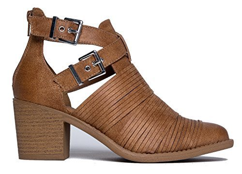 Leatherette Straps Zipper Closure-Pointed Toe Stacked Heel-Western Bootie (Leatherette Strap)
