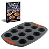 Makimy 12-Cup Premium Silicone Mini Muffin Pan with STURDY HANDLES + Bonus Exclusive 50 Delicious Tin Meal Muffin Recipes - Nonstick - Best Value Cupcake Mold on Amazon