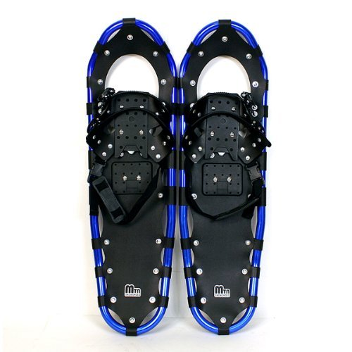New MTN Extreme Lightweight All Terrian Man Woman Kid Teen Snowshoes up to 255 lbs /Free Bag + Nordic Pole - BLUE (30'' inch)
