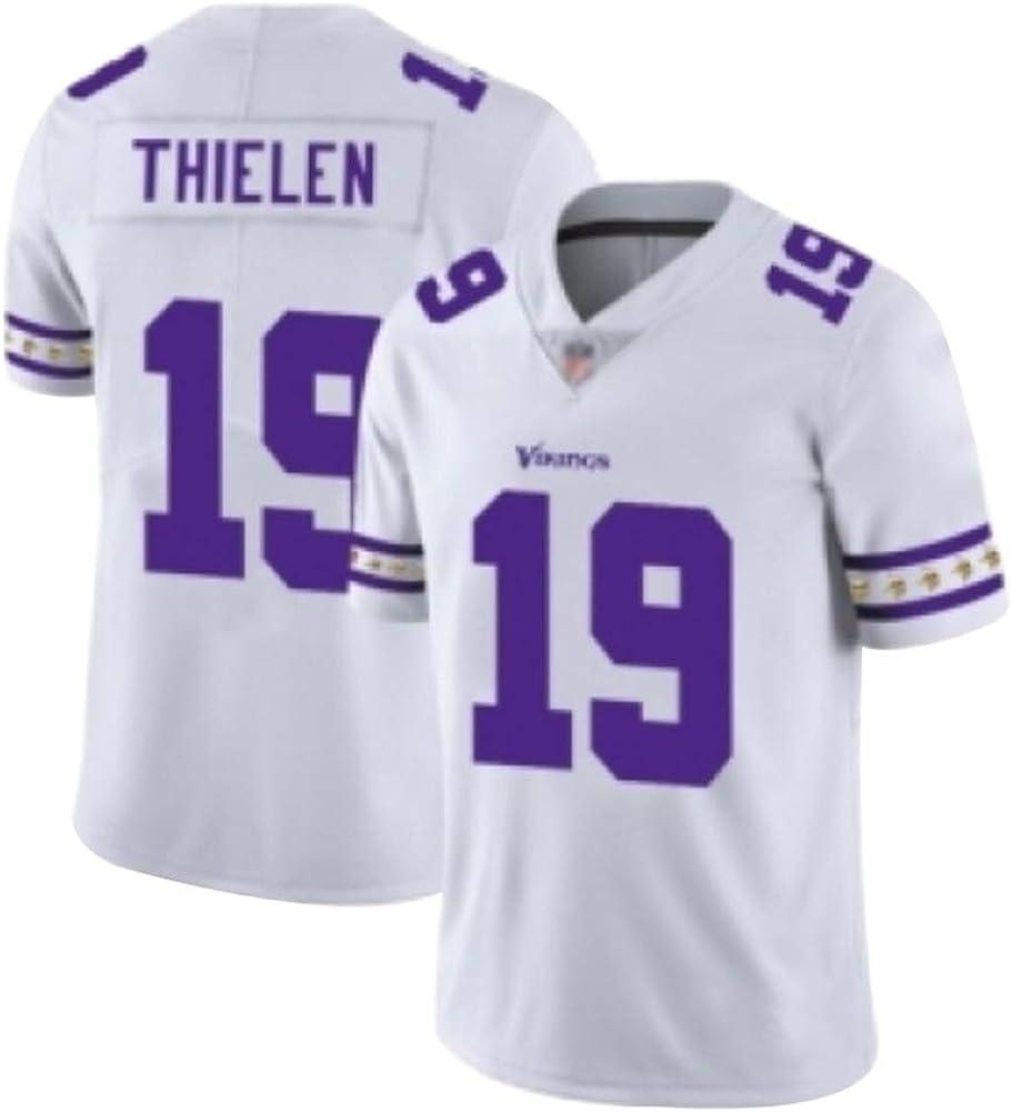 gestickte Quick Dry Ausbildung Sports T-Shirt Kurzarm Herren Erwachsene Studenten Adam Thielen 19# Minnesota Vikings Football Jersey M/änner