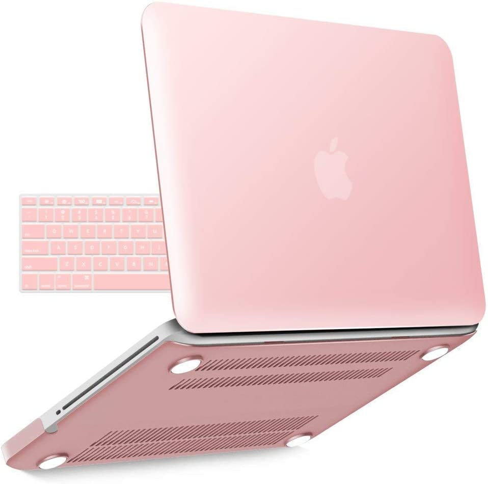 IBENZER MacBook Pro 13 Inch case A1278 Release 2012-2008, Plastic Hard Shell Case with Keyboard Cover for Apple Old Version Mac Pro 13 with CD-ROM, Rose Quartz, P1301RQ+1