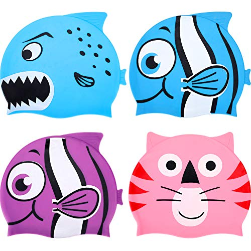 Kids Swimming Cap Silicone Waterproof Swim Cap Animal Swim Hats Bathing Cap in Cute Cartoon Animal Design for Boys Girls, 4 Pieces