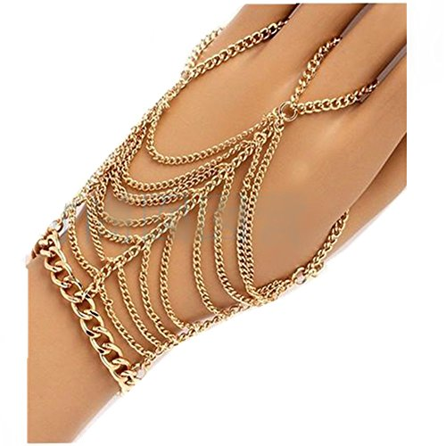 JoJo & Lin Gold Tone Dangling Hand Chain Harness Bracelet With Finger Ring