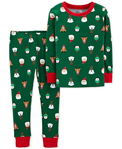 Carters Toddler Boys Holiday Christmas Pajamas 2 pc Cotton Snug Fit (3T), Green/Red -