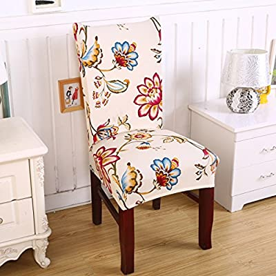 SoulFeel 6 x Soft Spandex Fit Stretch Short Dining Room Chair Covers with Printed Pattern, Banquet Chair Seat Protector Slipcover for Home Party Hotel Wedding Ceremony