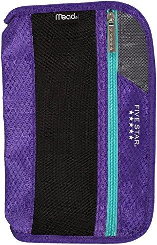 Five Star Xpanz Zipper Carrying Case / Pouch for Pencil, Pen, Supplies - Puncture Resistant, Purple/Teal