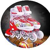 JZX Skates, Children's Full Set of Roller Skates,Red,34-37