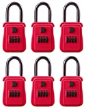 Rainbow Lockboxes (6 Pack) Real Estate Key Storage Lock Box with Set Your Own Combination, Red - Choice of Colors