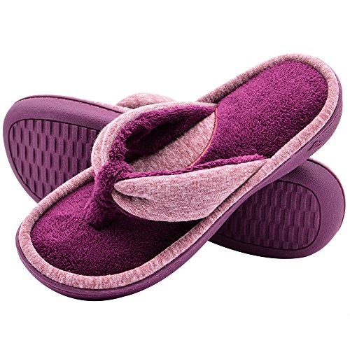 Wishcotton Women's Adjustable Memory Foam Spa Thong House Shoes Fluffy Flip Flop Slippers (L, Wine Red)