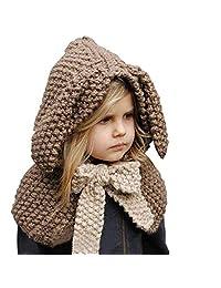 Kids Girls Crochet Hat Cartoon Warm Winter Knitted Hood Animal Coif Scarf Earflap Beanies