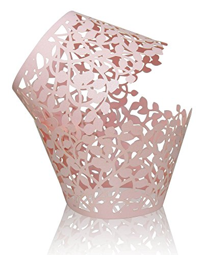 50 CUPCAKE WRAPPERS -Decorative Lace Paper Wrapper Cases -Perfect decoration for Weddings, Birthdays or Party -Add artistic flair to your cupcakes, muffins or any treats on your dessert display -Pink