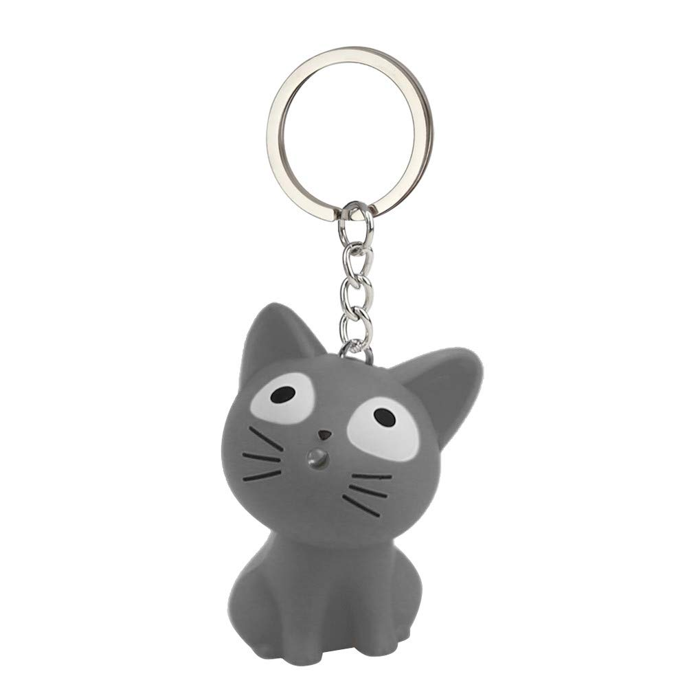 Aobiny Keychain Cute Cat Keychain with LED Light and Sound Keyfob Kids Toy Gift
