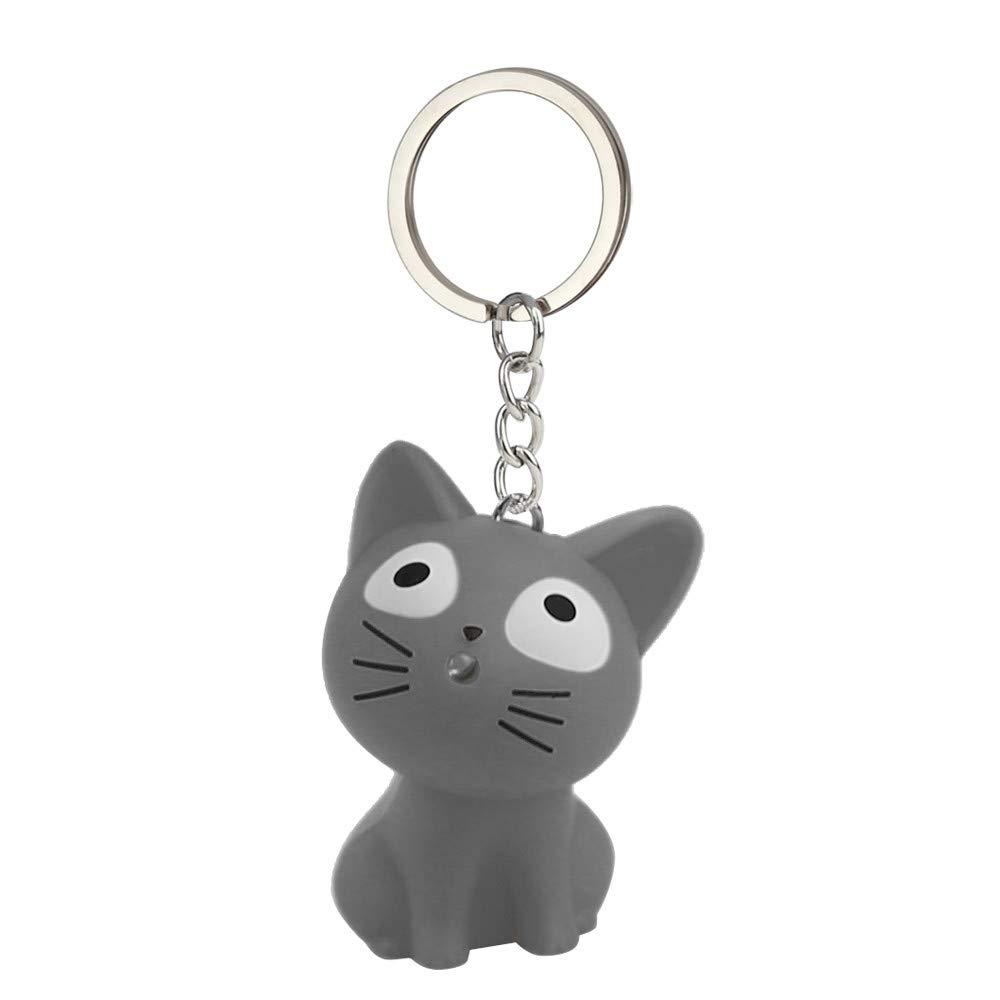Emerayo Cute Animal Keychain Flashlight Kids Toy Gift with LED Light and Sound Keyfob (Gray Cat, One)