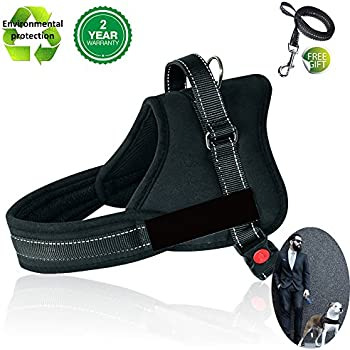 Dog Harness No Pull Harness Pet Padded Vest Adjustable Reflective Comfort Control for Large Dogs in Training Walking - No More Pulling Tugging or Choking (XXL, Black)