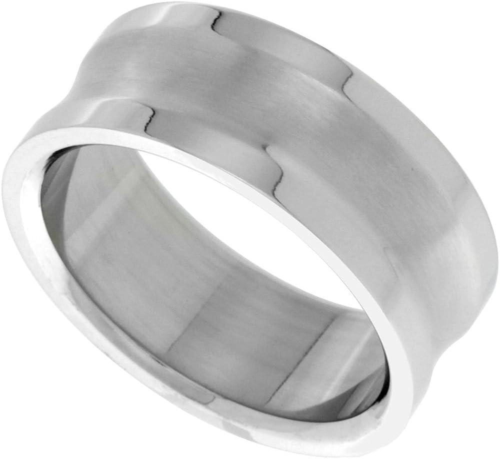 Surgical Steel 9mm Wedding Band Ring Matte Finish Beveled Edges Sizes 7-14