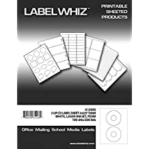 LabelWhiz CD/DVD Labels for Laser and Inkjet Printers, 4.625-Inch in Diameter, AVERY-Sized, 2-Label Per Sheet, 100-Sheet, White