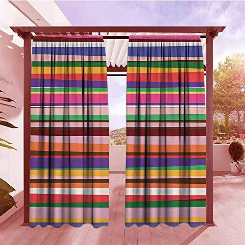 Window Curtain Striped Decor Gradient Artistic Optical Nostalgic Concept Shapes Funky Vintage Design Draft Blocking Draperies W84x108L Violet Orange