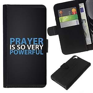 KLONGSHOP // Tirón de la caja Cartera de cuero con ranuras para tarjetas - Oración Biblia es tan muy de gran alcance - HTC Desire 820 //