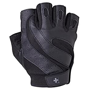 Harbinger Pro Non-Wristwrap Vented Wash & Dry Glove with Padded Leather Palm (Old Style), Black, Large