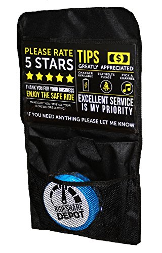 Uber Lyft Back Seat Organizer, Multi-Pocket with 5 Blue Emesis Vomit Bags, 3 Tip & Rating Signs, 1 Uber Lyft Sign