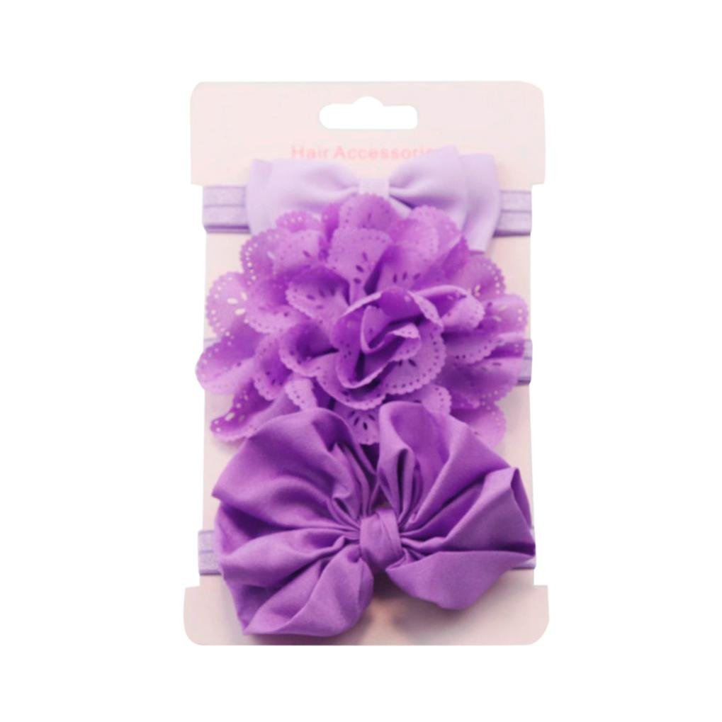 Coper 3Pcs Baby Girls Elastic Floral Headband Bowknot Hairband Set (A)