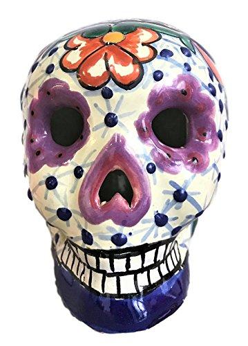 Day of The Dead Skull Statue Figurine - Premium Quality - Calaverita Dia de Muertos - Hand Painted in Mexico - Calavera Multicolor - -