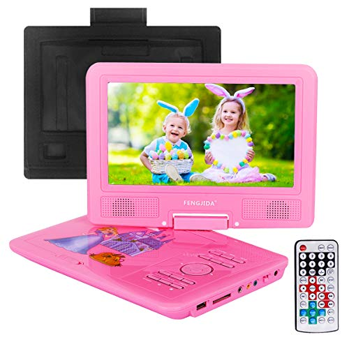 FENGJIDA 9.5 Portable DVD Player with Headrest Mount Holder, Built-in Rechargeable Battery, 270°Swivel Screen, 5.9 ft Car Charger SD Card Slot and USB Port - Pink