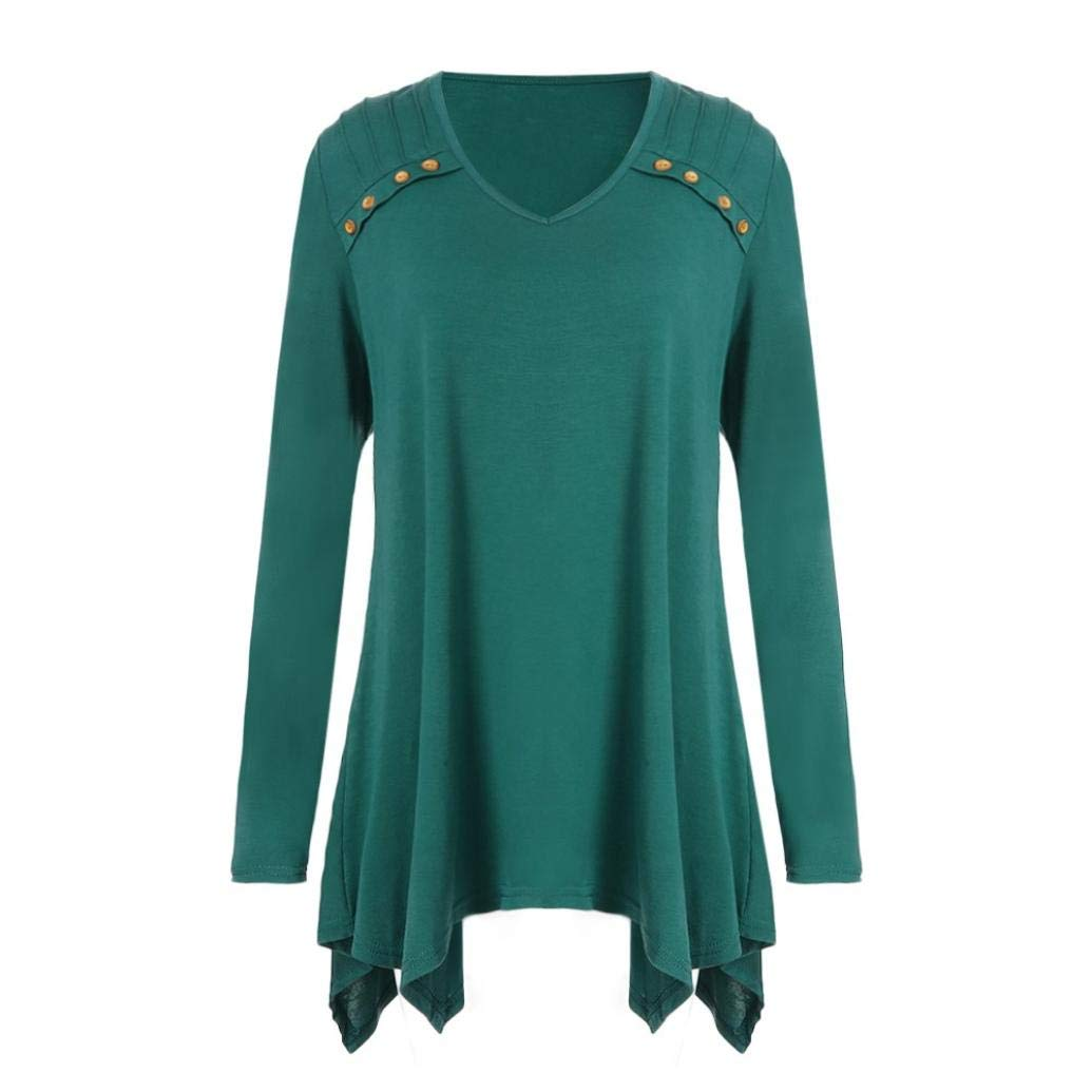 Lelili Clearance Women Fashion Tunic Tops Plus Size Solid Long Sleeve V Neck Button Decor Pleated Swing Blouse Tops Pullover