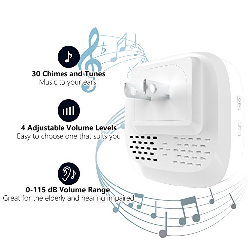 Wireless Doorbell,Rtaneey IP44 Waterproof Door Chime Kit Operating at Over 1476 ft with 2 Plug-In Receivers,30 Melodies,4 Level Volume,LED Indicators,Easy Set Up for Home and Office by Rtaneey (Image #1)