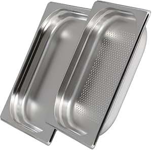 Greyfish Gastronorm 1/2 - Juego de bandejas para hornos de cocción al vapor Gaggenau, Miele y Siemens (lisa y perforada, acero inoxidable, 4 cm de profundidad)