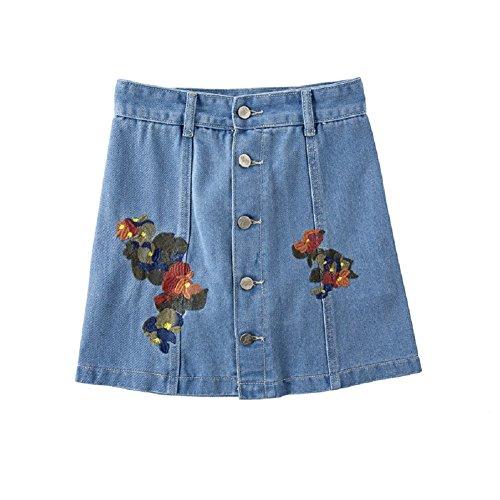 Oudan Jupe Courte pour Femme Stretch Denim Jupe Crayon Jupe Basic Denim Jupes Brodes de Fleurs Bleu