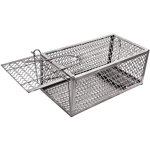 (Luluhome Mouse Trap, Humane Live Cage One-Door Animal Trap (Silver))