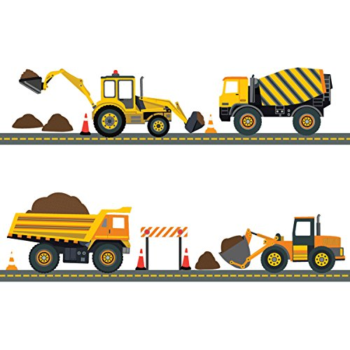 Four Construction Vehicles with 15 Feet Straight Gray Road Wall Decals (Repositionable) Peel and - Wall Truck Dump