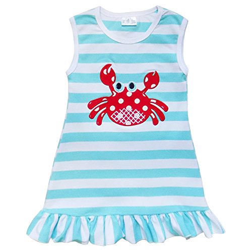 So Sydney Girls Toddler Baby Infant Summer Dress or Ruffle Baby Bubble Romper (L (5), Crab Blue Stripe)