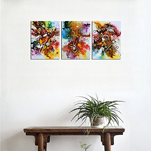 """Canvas Art Colorful Abstract Painting Prints Contemporary Wall Art Picture Modern Artwork Shell String Bubble Textures Flowing Style for Kitchen Office Wall Decor Home Decorations 12\"""" x 16\"""" x 3 Pieces"""