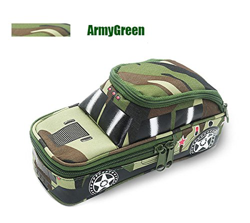 Creative Pencil Case High Capacity Pencil Pouch Durable Students Stationery Organizer Bag Camouflage with Double Zipper Password Lock Off-Road Car Green
