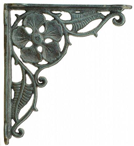 (Decorative Shelf Bracket Flower Leaf Design Distressed Blue Cast Iron 9.375