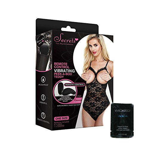 Vibrating Lace Cupless Teddy with Remote Control Wireless Pulsating Mini Massager Panty Set Black Thong