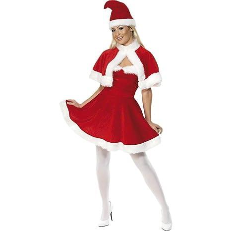Amakando Vestito Natalizio Ragazza Costume Babbo Natale Donna M 44 46  Travestimento da Mamma Natale 02e80b7f31b