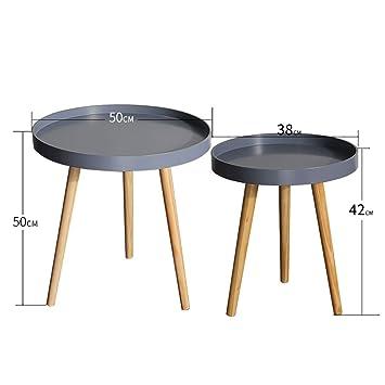 Hongsezhuozi Tische Teetisch Grau Holzplatte Couchtisch Einfaches ...