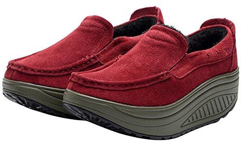 Mocassini Da Donna Con Plateau, Stivaletti Foderati In Eco-pelliccia Sneakers Invernali 4 Colori Taglia 5-8 Rosso Intenso