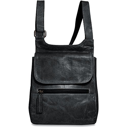 Jack Georges Voyager Collection Leather Slim Crossbody Bag in Slate Jack Georges Slim Briefcase