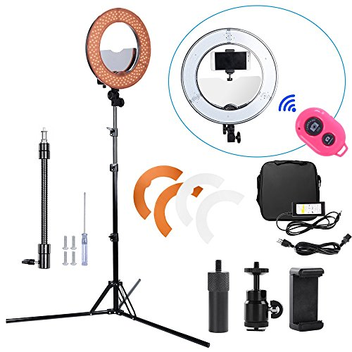 Hakutatz Dimmable 14 inches 42W 5500K LED Ring Light Kit for Camera Studio with Bag,Filter Set,Extended Mini Ball Head,Cellphone Clip Holder,Mirror,Bluetooth Receiver,Soft Tube,Screwdriver,Light Stand