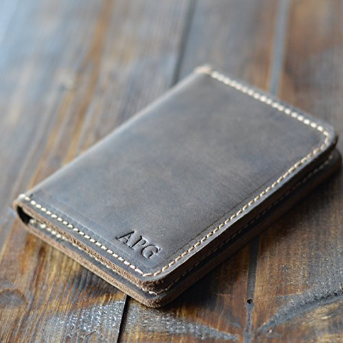 PERSONALIZED Distressed Leather Minimalist Bifold Wallet, Leather Minimalist Wallet, Leather Bifold Wallet, Distressed Leather Wallet, Pegai Knox Bifo…