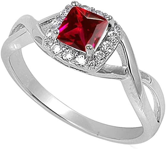 Solitaire Infinity Shank Ring Princess Round CZ 925 Sterling Silver Choose Color