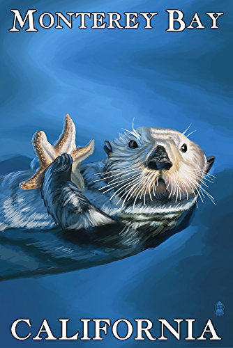 Monterey Bay  California   Sea Otter  16X24 Giclee Gallery Print  Wall Decor Travel Poster