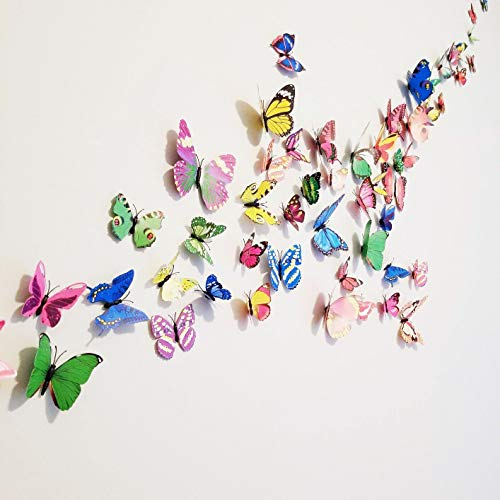 72 Pcs 3d Butterfly Stickers Home Decoration DIY Removable 3d Vivid Special Man-made Lively Butterfly Art DIY Decor Wall Stickers for Wall Decor Kids Room Bedroom Living Room 6 Colors