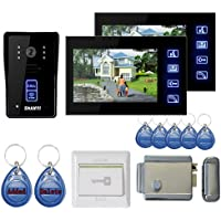 Lightinthebox 7 Color Hands Free Video Door phone door lock system with 2 Monitors RFID keyfobs, Electronic Controlling Lock, Outdoor Camera