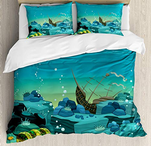 USOPHIA Cartoon 4 Pieces Bed Sheets Set Queen Size, Seascape Underwater with Treasure Galleon and Sunk Ship Pirate Kids Print Floral Duvet Cover Set, Teal and Yellow